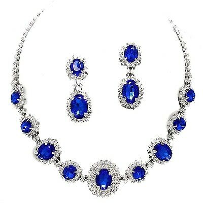 Sapphire Blue rhinestone crystal necklace set brides proms party sparkly 249