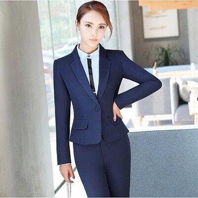 ... Elegante Tailleur completo donna blu scuro giacca manica lunga pantaloni  w9039 2 b2568000243