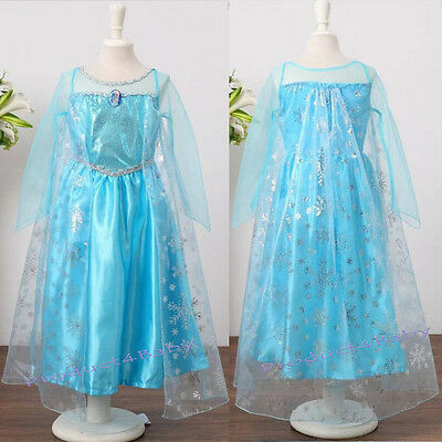 Girl Frozen Dress Costume Disney Princess Queen Elsa Party Birthday size 1-12Yrs