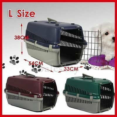 Portable Plastic Dog Cat Pet Pets Carrier Travel Cage w Front Doors House Kennel 2