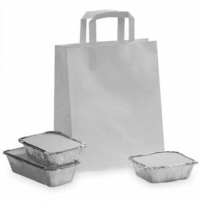 Brown & White Kraft Paper Sos Food Carrier Bags With Handles Party Takeaway Etc 5