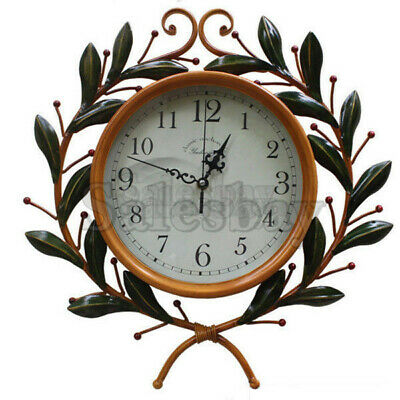 Large Metal and Wooden Industrial French Provincial Antique Round Wall Clock 3