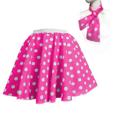 ROCK N ROLL Fancy Dress Grease 1950s Fancy Dress SKIRT & SCARF COSTUME all Size 10