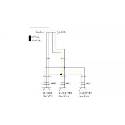 Energiew/ürfel Stromverteiler mDV franz/ösisch//belgische System 2x230V 1x16A//5P mit 1,5m Verzinktkette Verteiler Kreuzverteiler 2701