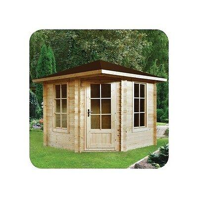 5 ECK Gartenhaus Blockhaus Gerätehaus Holz 260x260, 28mm, ohne ...