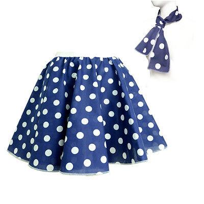 ROCK N ROLL Fancy Dress Grease 1950s Fancy Dress SKIRT & SCARF COSTUME all Size 7