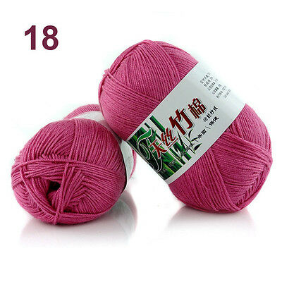 50g Soft Baby Knitting wool Natural Crochet Bamboo Cotton Hand Yarn 55 colors 9