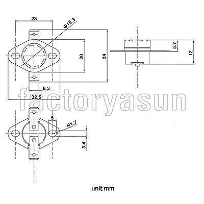 5PCS KSD301 Temperature Switch Thermostat 50 °C - 150 °C Degrees Celsius NO NC 2