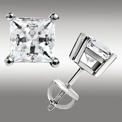 2.00 Ct. Princess Cut Stud Earrings w/Screw Back 14K White Gold Ideal 3