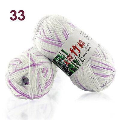 50g Soft Baby Knitting wool Natural Crochet Bamboo Cotton Hand Yarn 55 colors 3