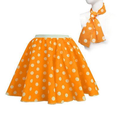 ROCK N ROLL Fancy Dress Grease 1950s Fancy Dress SKIRT & SCARF COSTUME all Size 9
