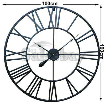 Large Metal and Wooden Industrial French Provincial Antique Round Wall Clock 12