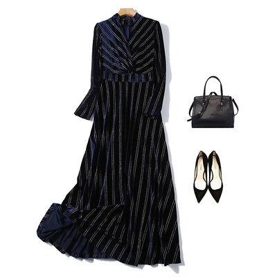 f54d71217af4 ... vestito lungo abito scampanato donna elegante blu velluto moda manica  4785 4
