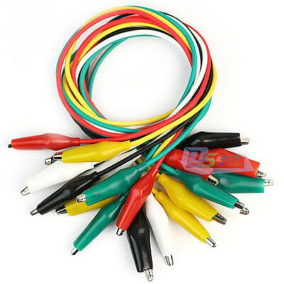 49cm 10X Colorful Jumper Cord Cable w/ Double-ended Alligator Crocodile Clip New 3