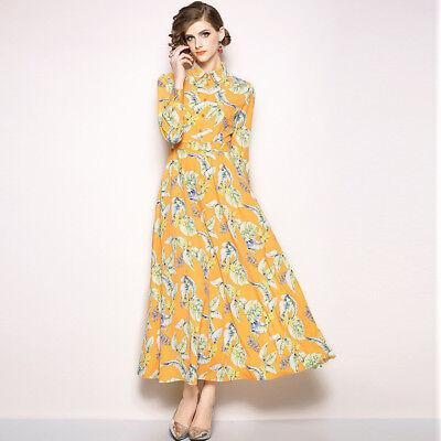 info for 408c1 4c66c VESTITO LUNGO ABITO scampanato donna elegante giallo piume grigio manica  4792