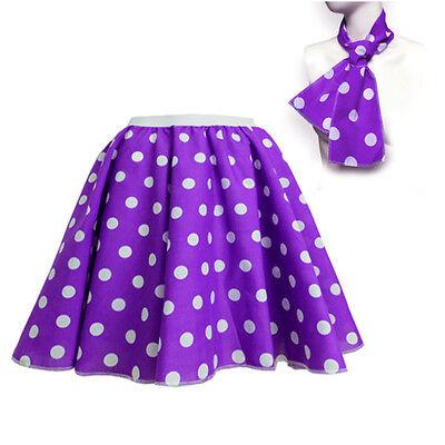 ROCK N ROLL Fancy Dress Grease 1950s Fancy Dress SKIRT & SCARF COSTUME all Size 11