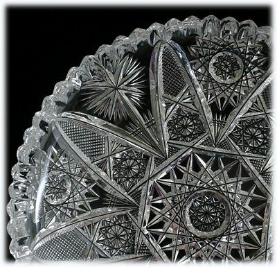 American Brilliant Cut Glass Plate High Quality Fine Cutting Antique ABP