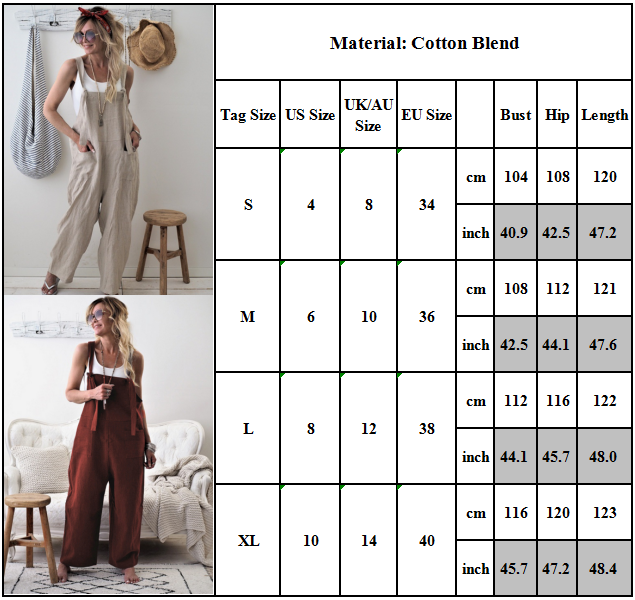 Women Oversized Loose Dungaree Cotton Linen Jumpsuit Playsuit Overalls Trousers 2