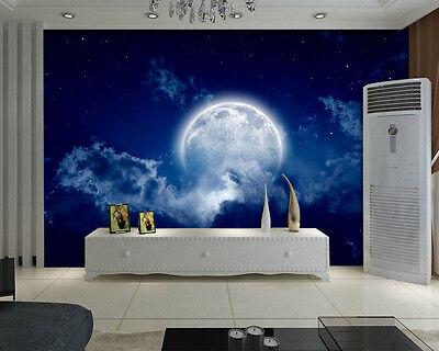 Full Blue Moon Cloud Heaven Full Wall Mural Photo Wallpaper Print Home 3D Decal