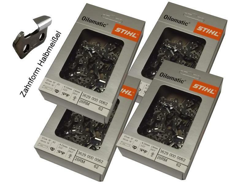"4 x Stihl Sägekette 3686 000 0062 .325/"" 1,6mm 62 GL 37 cm Rapid Micro halb"