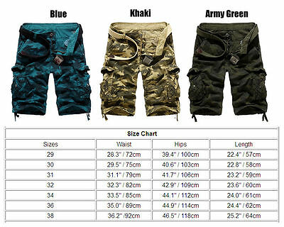 Mens Cargo Shorts Pants Army Combat Tactical Military Long Trousers Multi-Pocket