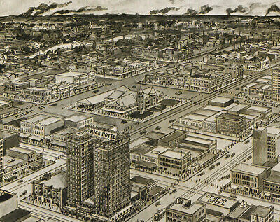 20x28 Bird/'s Eye View 1891 Asheville North Carolina Vintage Style City Map