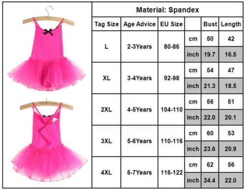 Baby Kinder Mädchen Tutu Tüll Ballett Kleid Ballettanzug Turnanzug Tanzen Rock