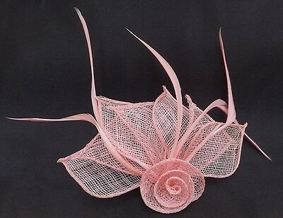 Hessian Net Rose & Feather Fascinator On A Forked Clip And Brooch Pin 2