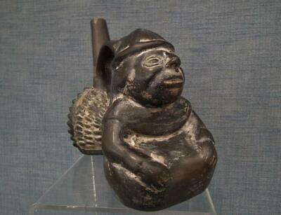 Antique Pre Columbian Chimu Inca Blackware Figural Whistling Vessel Whistle 3