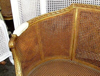 19th Century French Louis XVI Cane Caned Settee Sofa Canapé 3