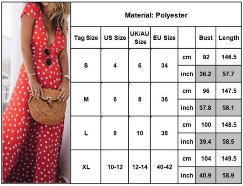 Red Women Boho Long Maxi Chiffon Dress V Neck Polka Dot Summer Beach Split Dress