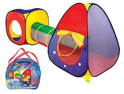 Kids Childrens Baby Pop Up Tent 3 Piece Set Play House & Tunnel Ball Pit 99953 2