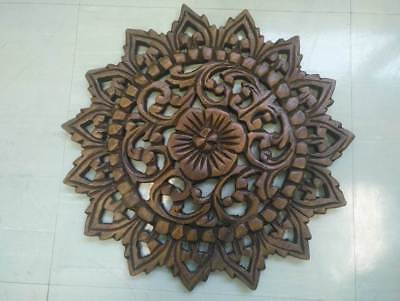 "12"" Vintage Carved Wood Wall Decor Panel Flowers Wall Art Beautiful Gift #2 4"