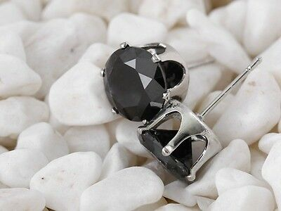 32d175a49 ... 18K White Gold Plated Black Round Cubic Zirconia CZ Stud Earrings Men/ Women Gift 7