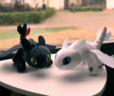 """10""""/14"""" UK How to Train Your Dragon 3 Toothless Night Fury Light Fury Plush Doll 4"""