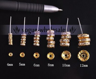 Wholesale Bulk Czech Crystal Rhinestone Rondelle Spacer Beads  4/5/6/8/10/12mm 3