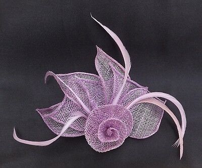 Hessian Net Rose & Feather Fascinator On A Forked Clip And Brooch Pin 6