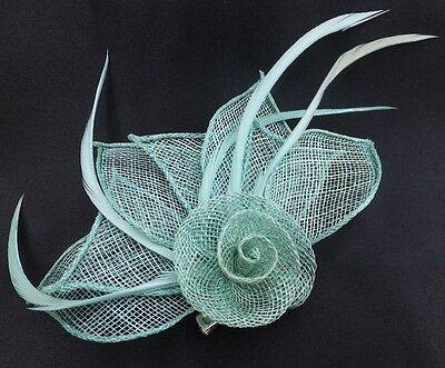 Hessian Net Rose & Feather Fascinator On A Forked Clip And Brooch Pin 4