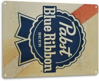Pabst Beer PBR Logo Retro Vintage Rustic Bar Man Cave Wall Decor Metal Tin Sign