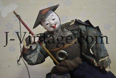 Antique Japanese Happy SAMURAI Doll with Armor YOROI KABUTO Helmet 6