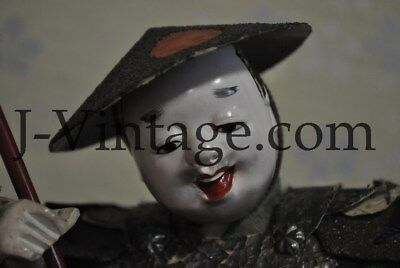 Antique Japanese Happy SAMURAI Doll with Armor YOROI KABUTO Helmet 7