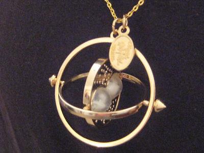 New Harry Potter Hermione Rotating Time Turner 14K Gold Necklace Nice! L@@k!