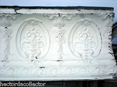 SALE Antique Victorian Ceiling Tin Tile 24 x 18 Acanthus Cameo Torch Shabby Chic 3