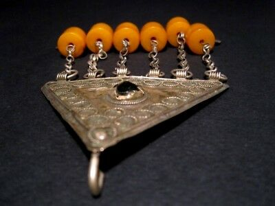 RARE ANTIQUE 1800's. BILLON JEWELRY WITH YELLOW AMBER PENDANTS from the BALKANS! 6