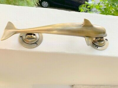 """aged DOLPHIN handle door PULL grab solid brass hollow old aged 12"""" patina B 7"""