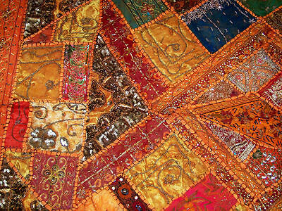 Sequin Bead Zardozi Work Hand Embroidered Antique Wall Tapestry/throw From India 5