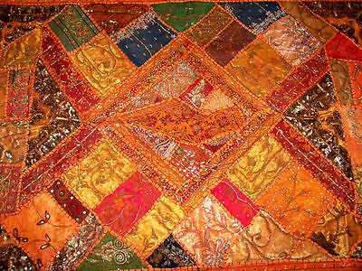 Sequin Bead Zardozi Work Hand Embroidered Antique Wall Tapestry/throw From India 2
