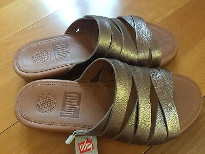 260cb3df6 ... NEW FitFlop Womens Lumy Leather Criss-Cross Slide Bronze Sandal - US 5 8