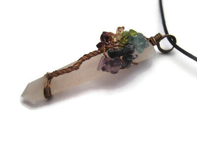 Chakra Tree Of Life Rose Quartz Crystal Gemstone Pendant with Cord Necklace 4