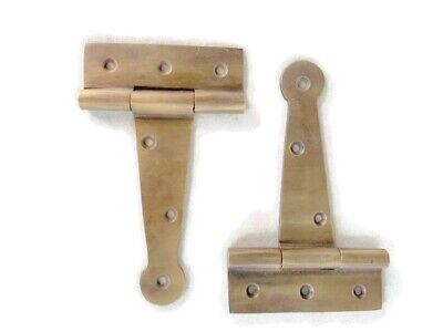 "4  small hinges vintage aged style solid Brass DOOR BOX restoration 4"" 2"